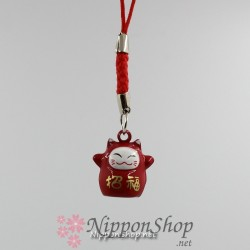 Mobile phone strap - Manekineko Red