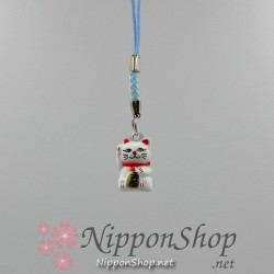 Mobile phone strap - Manekineko White