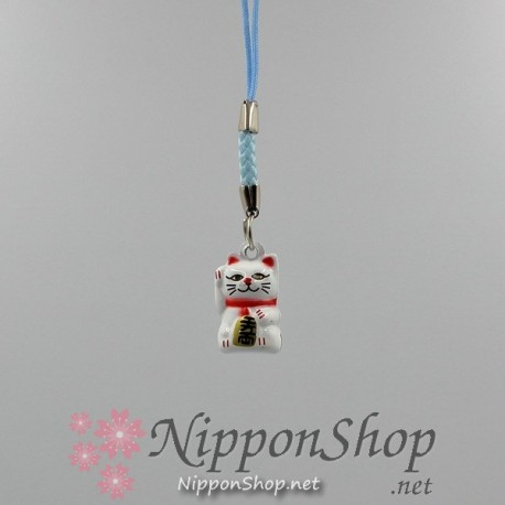 Mobile phone strap - Manekineko White