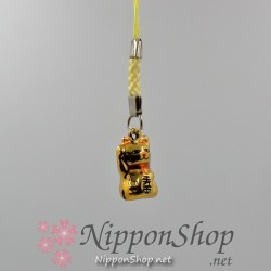 Mobile phone strap - Manekineko Gold
